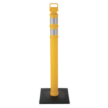 Cortina Delineator Post, 45 in, 10 lb Base, Polyethylene/Recycled Rubber, Yellow (1 EA/EA)