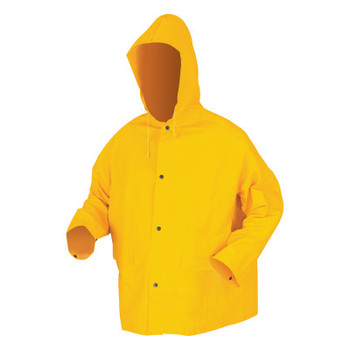 MCR Safety 200JH Classic Series Hooded Rain Jackets, Yellow, 16 in, Large, Attached Hood (1 EA/EA)