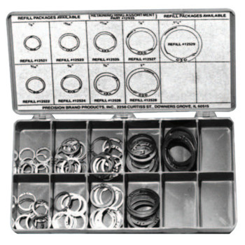 Precision Brand Retaining Ring Assortments, Spring Steel, 140 per set (1 KIT/EA)