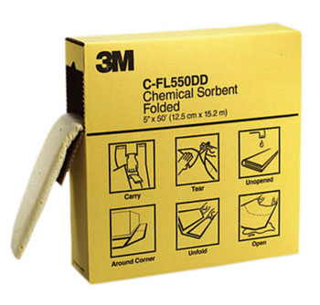 3M High-Capacity Folded Chemical Sorbents, Absorbs 1.5 gal (3 CS/BOX)