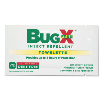 First Aid Only BugX DEET Free Insect Repellent Towelette (1 CA/BOX)