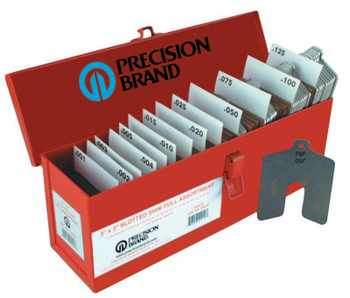 """Precision Brand Slotted Shim Assortment Kits, 2 X 2 in, .001-.075"""" Thick, Shop Asst (1 KIT/EA)"""