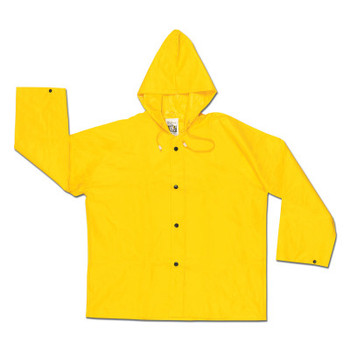 MCR Safety 300JH Wizard Hooded Rain Jackets, Nylon/PVC, Yellow, 16 in, 2X-Large (1 EA/EA)