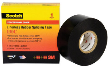 3M Scotch Linerless Splicing Tapes 130C, 30 ft x 1 1/2 in, Black (1 ROL/EA)