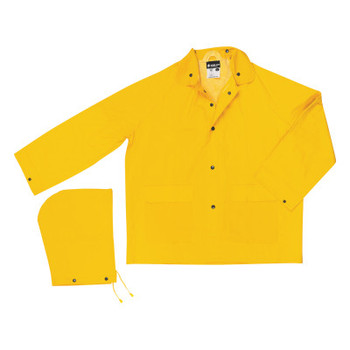 MCR Safety 200J Classic Series Detachable Hood Rain Jackets, Yellow, 16 in, X-Large (1 EA/EA)