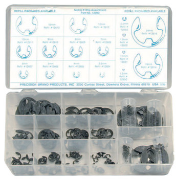 Precision Brand Metric E-Clip Assortments, Steel, 255 per set (1 AS/EA)
