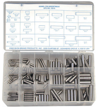 Precision Brand Dowel Pin Assortments, Alloy Steel, 176 per set (1 AST/EA)