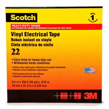 3M Scotch 22 Heavy-Duty Vinyl Insulation Tapes, 36 yd x 2 in, Black (12 CA/CTN)