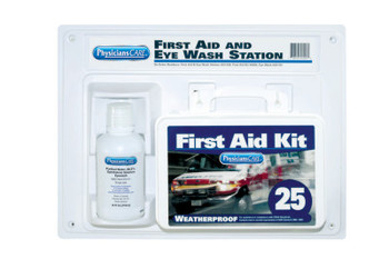 First Aid Only First Aid Kit and Eye Wash Station, 16 oz, 25 Person (1 KT/DZ)