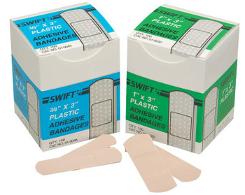 Honeywell Adhesive Bandages, Blue, 1 1/2 in x 3 in, Plastic (1 BX/PKG)