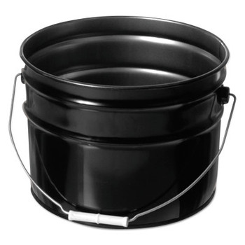 Freund Unlined Open Head Steel Pail, 3 1/2 Gallon, 10.9 in Cap, Black (1 EA/EA)