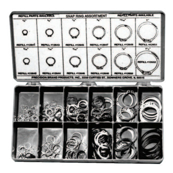 Precision Brand Snap Ring Assortments, Spring Steel (1 KIT/EA)
