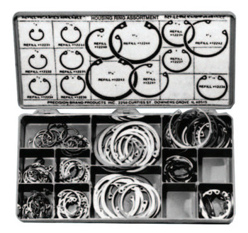 Precision Brand Housing Ring Assortments, Spring Steel, 150 per set (1 KIT/EA)