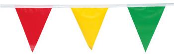 Presco Pennant Flags, 9 in x 12 in, 60 ft Long, Polyethylene, Multi-Color (1 EA/BOX)