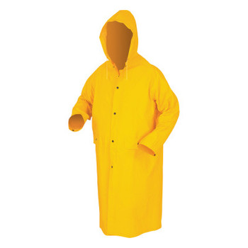 MCR Safety Classic Rain Coat, Detachable Hood, 0.35 mm PVC/Polyester, Yellow, 49 in X-Large (1 EA/CT)
