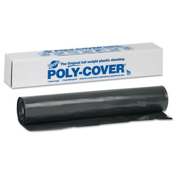 Warp Brothers Poly-Cover Plastic Sheets, 4 Mil, 40 x 100, Black (1 ROL/BX)