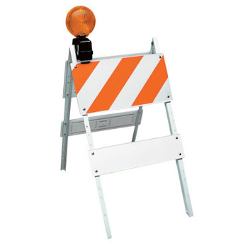 TrafFix Devices, Inc. All Plastic Type I Barricades, 12 in x 24 in/6 in x 24 in Panels, LDPE, White (1 EA/EA)