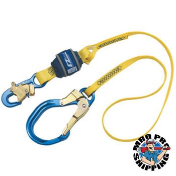 Capital Safety EZ Stop Shock Absorbing Lanyard, 6ft, Snap/Rebar Hook, 310lb Cap, Blue/Yellow (1 EA/EA)