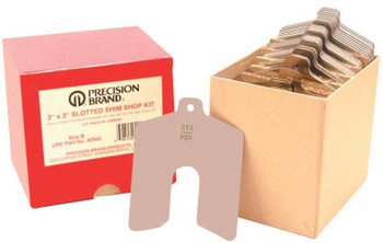 """Precision Brand Slotted Shim Assortment Kits, 3 X 3 in, .001-.075"""" Thick, Shop Asst (1 KIT/EA)"""