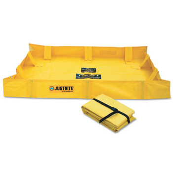Justrite QuickBerm Lite Spill Containment Berms, Yellow, 119 gal, 6 ft x 4 ft (1 EA/COIL)
