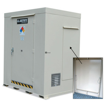 Justrite Non-Combustible Outdoor Safety Locker-Explosion Relief Panels, (2) 55-gal drums (1 EA/EA)