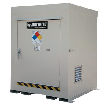 Justrite Non-Combustible Outdoor Safety Locker-Natural Draft Ventilation, (4) 55gal drums (1 EA/EA)