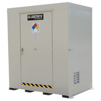 Justrite Non-Combustible Outdoor Safety Locker-Natural Draft Ventilation, (6) 55gal drums (1 EA/BDL)