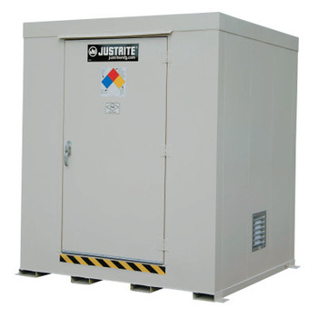 Justrite Non-Combustible Outdoor Safety Locker-Natural Draft Ventilation, (9) 55gal drums (1 EA/COIL)