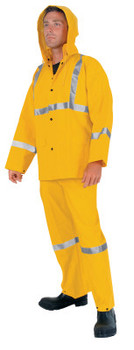 MCR Safety Three-Piece Rain Suit, Jacket/Hood/Overalls, 0.35 mm PVC/Poly, Yellow, Large (1 EA/EA)
