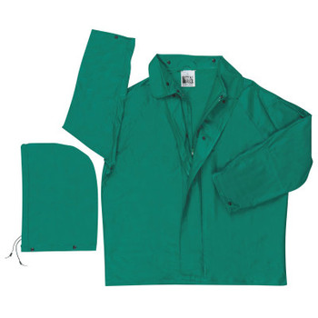 MCR Safety 388J Dominator Detachable Hood Rain Jackets, Polyester/PVC, Green, 16 in, Large (1 EA/EA)