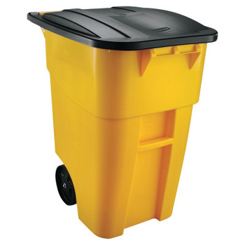 Newell Rubbermaid Brute Rollout Container, Square, Plastic, 50 gal, Yellow (1 EA/BIT)