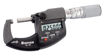 L.S. Starrett 795 & 796 IP67 Series Electronic Micrometers, 0-1 in; 0-25 mm, With Output (1 EA/BIT)
