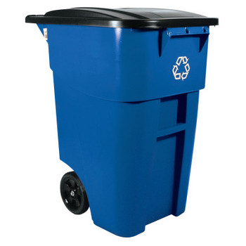 Newell Rubbermaid Brute Recycling Rollout Container, Square, 50gal, Blue (2 EA/EA)