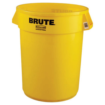 Newell Rubbermaid Brute Round Containers, 32 gal, Plastic, Yellow (1 EA/EA)