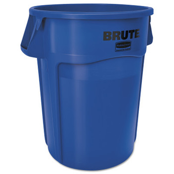 Newell Rubbermaid Brute Round Containers, 32 gal, Plastic, Blue (1 EA/PKG)