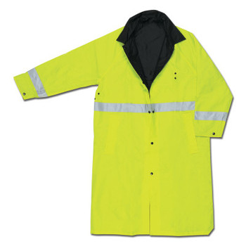 MCR Safety 7368CR Luminator Raincoats, Nylon/PVC, Black/Lime, 16 in, 3X-Large (1 EA/EA)