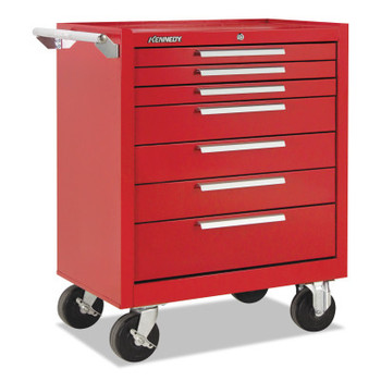 Kennedy Industrial Series Roller Cabinets, 27 x 18 x 35, 7 Drawers, Smooth Red, w/Slide (1 EA/EA)