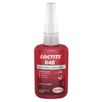 LOCTITE 648 High Strength Rapid Cure Retaining Compound, 50 mL Bottle, Green, 3,900 psi (10 CA/EA)