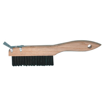"Magnolia Brush Shoe Handle Wire Scratch Brushes,10"",4X16 Rows, Carbon Steel Wire, Wood, Scraper (12 EA/BOX)"