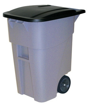 Newell Rubbermaid Brute Roll Out Containers, 50 gal, HDPE, Gray (1 EA/PKG)
