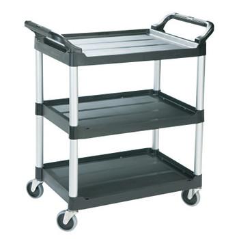RUBBERMAID COMMERCIAL PROD. Economy Plastic Cart, Three-Shelf, 18-5/8w x 33-5/8d x 37-3/4h, Black (1 EA/PK)