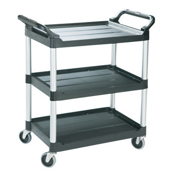 RUBBERMAID COMMERCIAL PROD. Economy Plastic Cart, Three-Shelf, 18-5/8w x 33-5/8d x 37-3/4h, Black (1 EA/PK)