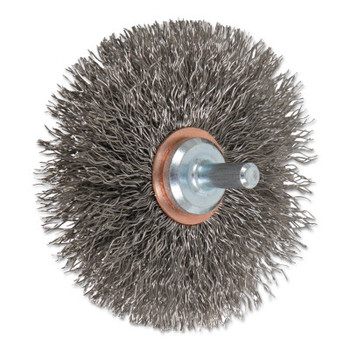 """Advance Brush Mounted Crimped Wheel Brushes, Stainless Steel, 20,000 rpm, 3"""" x 0.014"""" (1 EA/CA)"""