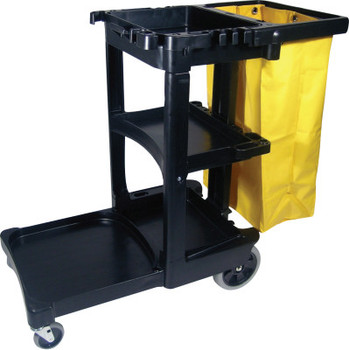 Newell Rubbermaid CLNING CART W/ZIPPERED YEL VINYL BG BLA (1 EA/CA)