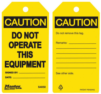 Master Lock Guardian Extreme Safety Tags, 5 3/4 x 3 in, Caution - Do Not Operate This Equip. (6 PK/CA)