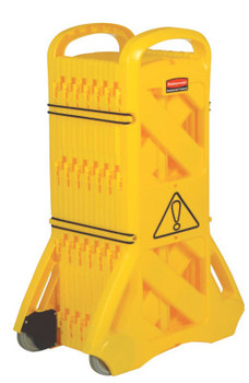Newell Rubbermaid Mobile Barriers, 40 in x 13 ft, Plastic, Yellow (1 EA/CA)