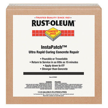 Rust-Oleum Industrial Concrete Saver InstaPatch Concrete Repair Compound, 1 gal, Kit Box, Black/Gray (1 EA/CA)