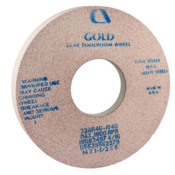 Carborundum Gold Toolroom Wheels, Type 5, 14 in Dia., 1 1/2 in Thick, 32 Grit, R Grade (1 EA/DZ)