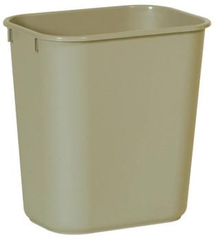 Newell Rubbermaid Deskside Wastebaskets, 13 5/8 qt, Plastic, Beige (1 EA/DZ)