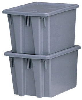 Newell Rubbermaid Stack & Nest Palletote Boxes, 1.3 cu ft, 15 1/2 in x 19 1/2 in x 10 in, Gray (1 EA/DOZ)
